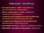 sulfonamidy klasyfikacja