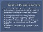 enacted budget solutions