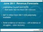 june 2011 revenue forecasts