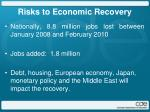 risks to economic recovery