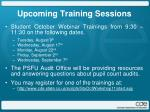 upcoming training sessions