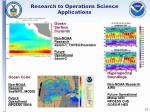 research to operations science applications