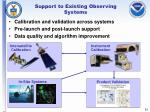 support to existing observing systems