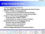 a path forward involves