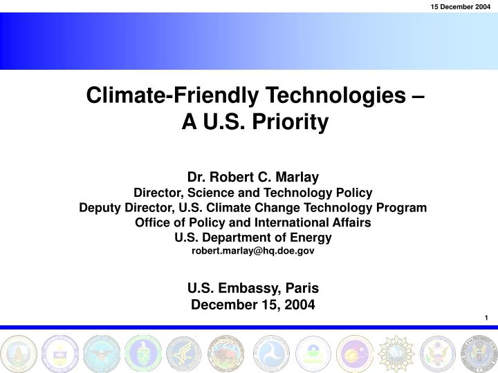 climate friendly technologies a u s priority n.