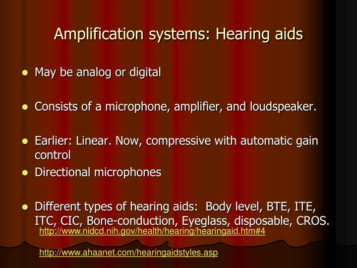 amplification systems hearing aids n.