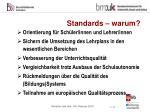 standards warum