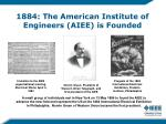 1884 the american institute of engineers aiee is founded
