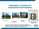 columbus a center of commerce innovation