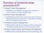 summary of functional areas covered by acpi