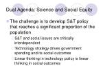 dual agenda science and social equity