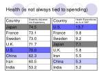 health is not always tied to spending