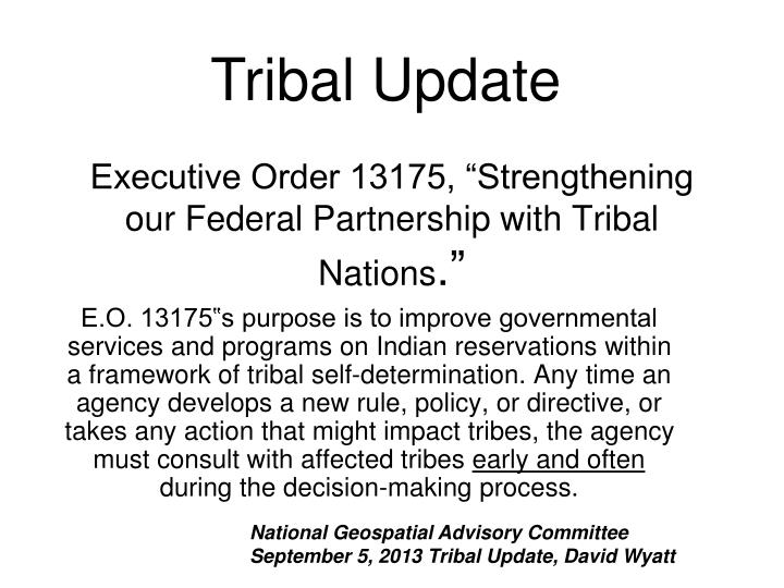 executive order 13175 strengthening our federal partnership with tribal nations n.