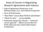 areas of concern in negotiating research agreements with industry