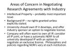 areas of concern in negotiating research agreements with industry1