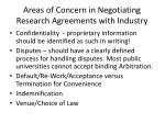 areas of concern in negotiating research agreements with industry2