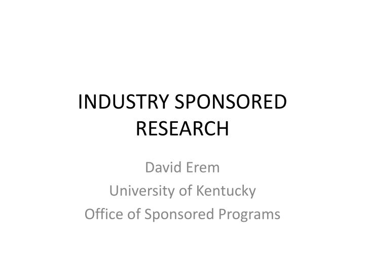 industry sponsored research n.