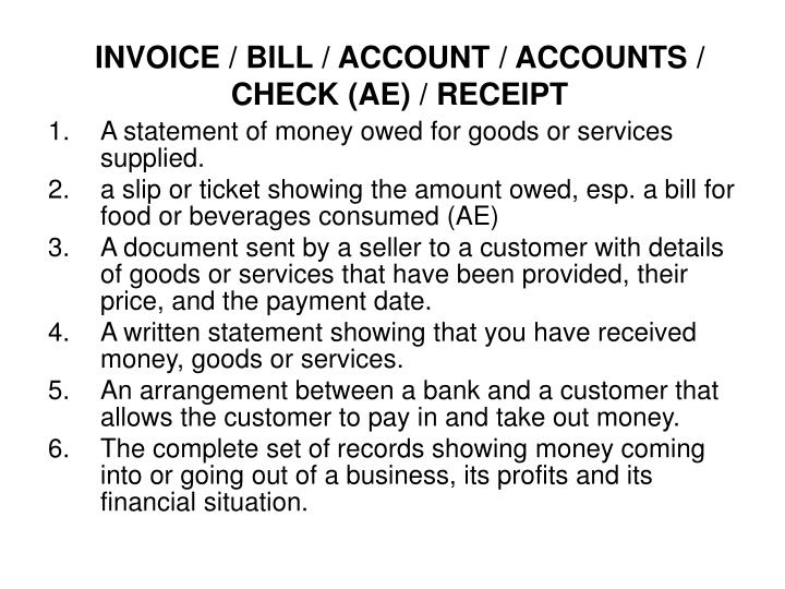 invoice bill account accounts check ae receipt n.