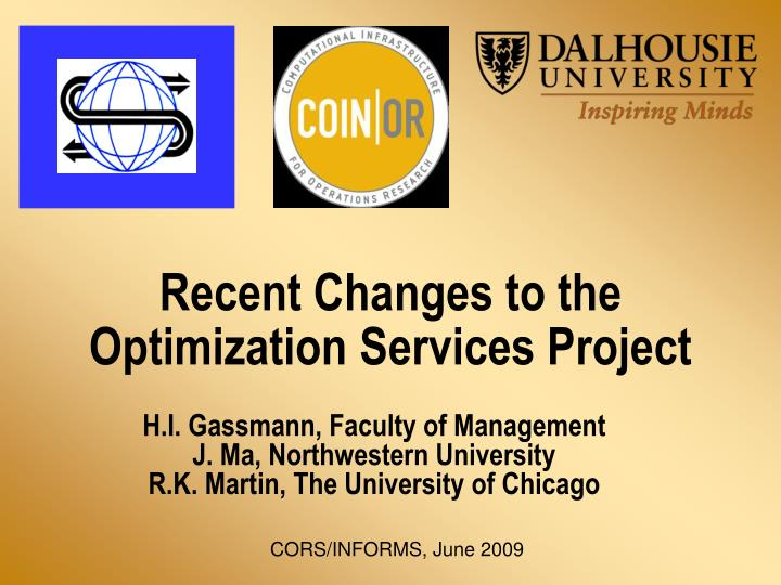 recent changes to the optimization services project n.