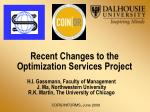 recent changes to the optimization services project