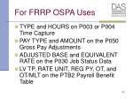 for frrp ospa uses