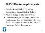 2005 2006 accomplishments