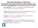 2007 2008 2008 2009 and 2009 2010 cumulative hypothetical effect to address budget gap