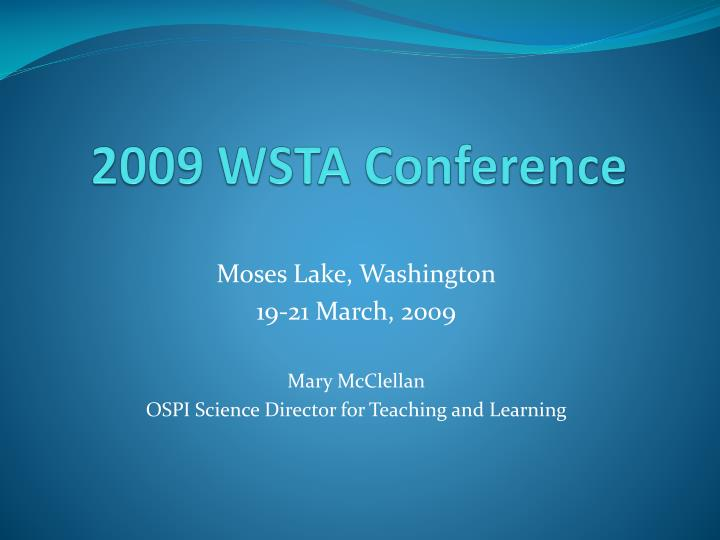 2009 wsta conference n.
