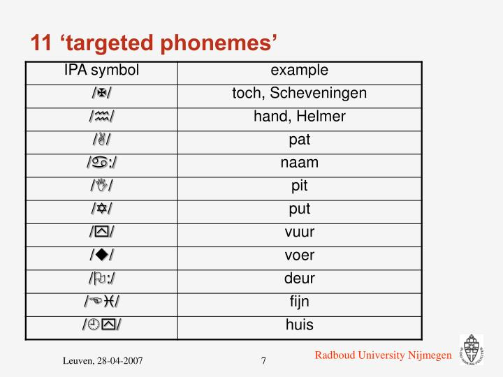 11 'targeted phonemes'