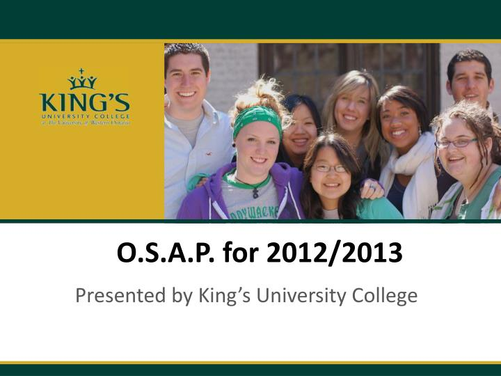 o s a p for 2012 2013 n.