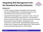 integrating risk management into the homeland security enterprise