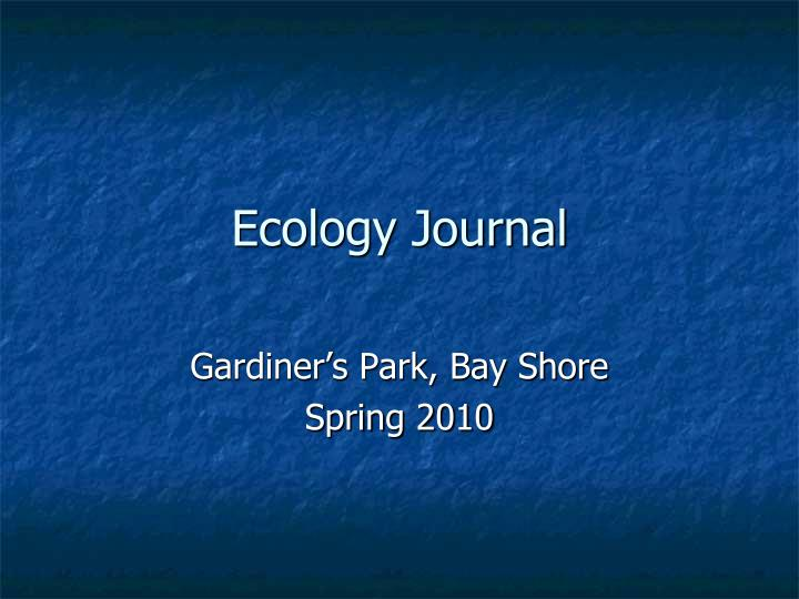 ecology journal n.
