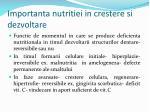 importanta nutritiei in crestere si dezvoltare