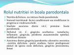 rolul nutritiei in boala parodontala