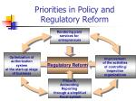 priorities in policy and regulatory reform