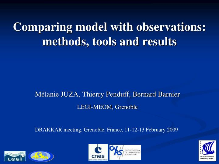 comparing model with observations methods tools and results n.