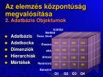 az elemz s k zpont s g megval s t sa 2 adatb zis objektumok