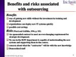 benefits and risks associated with outsourcing