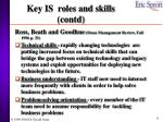 key is roles and skills contd
