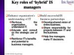 key roles of hybrid is managers