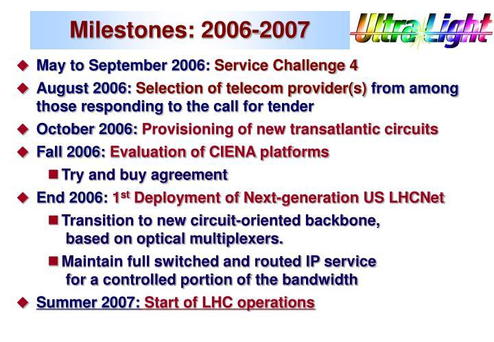 Milestones: 2006-2007