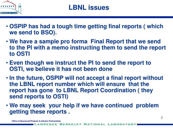Lbnl issues