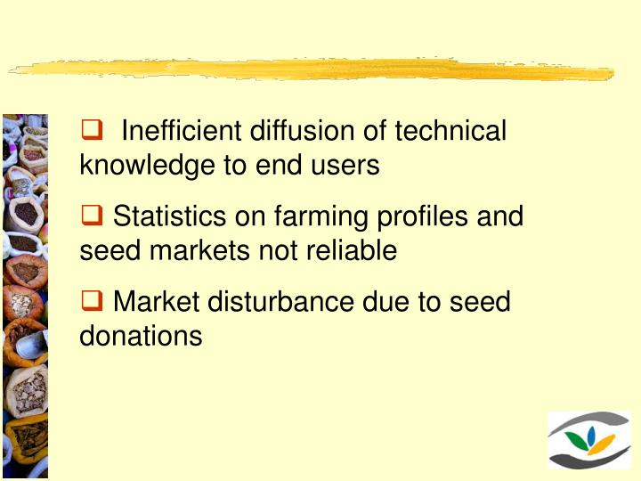 Inefficient diffusion of technical knowledge to end users