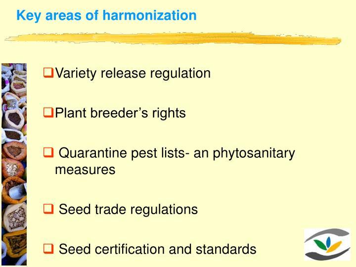Key areas of harmonization