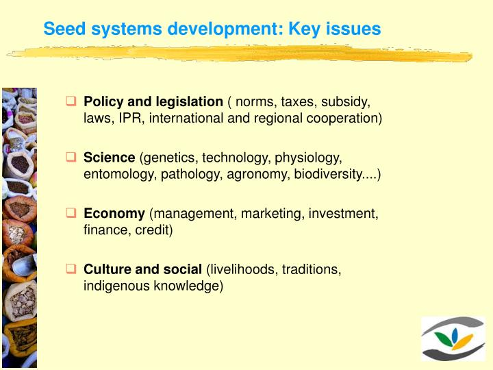 Seed systems development: Key issues