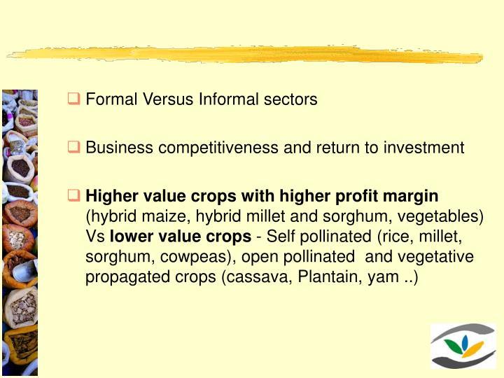 Formal Versus Informal sectors