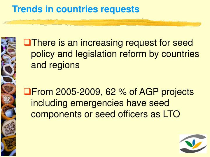 Trends in countries requests