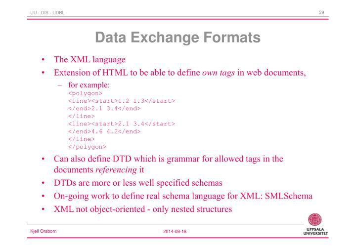 Data Exchange Formats