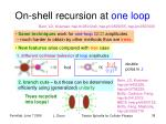 on shell recursion at one loop