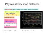 physics at very short distances